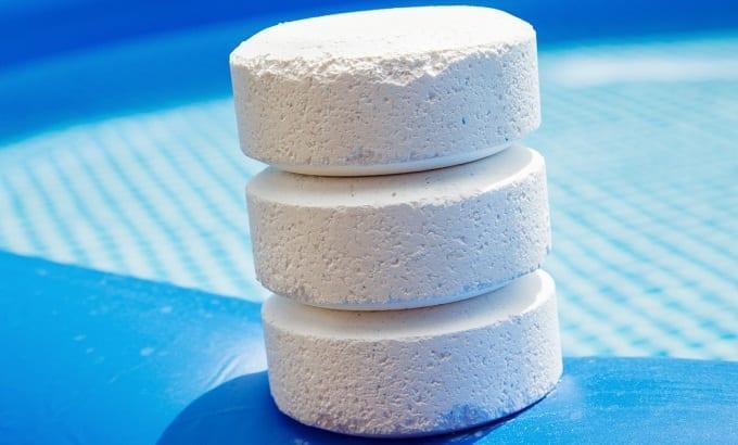 Three White Chlorine Tablets